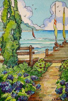 Ideas For House Illustration Art Storybook Cottage Storybook Cottage, Cottage Art, Watercolor Landscape, Watercolor Art, Jig Saw, Imagen Natural, House Illustration, Pierre Auguste Renoir, Copics