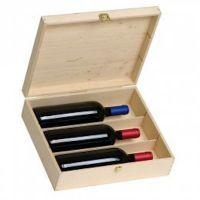 "Natural wooden Box ""RISERVA"" for 3 bottles 0.75 lt. - Package of 2    MEASURES  :   Height: cm.33,50   Width: cm.28,00     Depth: cm.9,00   Thickness : cm.1"
