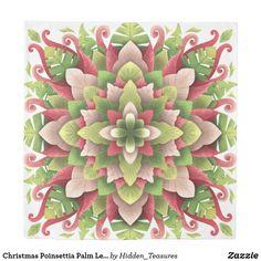 Christmas Poinsettia Palm Leaves Mandala Duvet Cover Christmas Mandala, Christmas Poinsettia, Christmas Wrapping, Mandala Duvet Cover, Bandana, Holiday Cards, Coloring Books, Duvet Covers