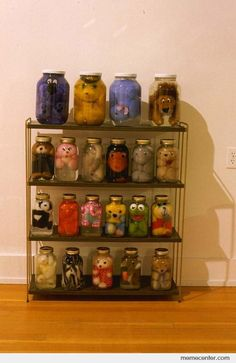 """Scary Preserved Stuffed Animals, this is one way to use up those cheap stuffed animals from carnivals. Put tonic water in the bottles and shine a """"Black light"""" on them so they will """"Glow in the dark""""!"""