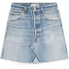 RE/DONE Denim Skirt (782.565 COP) ❤ liked on Polyvore featuring skirts, mini skirts, bottoms, blue, distressed denim skirt, mini skirt, blue skirt, blue denim skirt and denim skirt