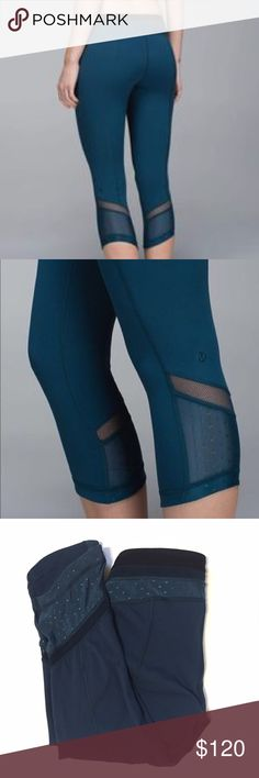 Alberta Lake Mesh Just Breathe Crops • Lululemon Details:  • Just breathe style • Mesh with dots • Black accents  • NWOT • Alberta lake teal color • Size 6    RARE. Price negotiable. Make an offer. lululemon athletica Pants Leggings
