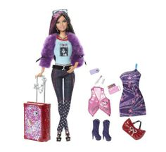 2011 Barbie Fashionistas Swappin Styles Doll - World Tour SASSY - Articulated - Suitcase Luggage Make Up Lipstick Passport Cell Phone Camera Belt Cool Shirt Faux Fur Jewelry Sun Glasses Sunglasses - Target Exclusive - NRFB NIB Mattel Mattel Barbie, Boy Barbie Dolls, Barbie Fashionista Dolls, Doll Clothes Barbie, Barbie And Ken, Doll Toys, B Fashion, Star Fashion, Barbie Playsets