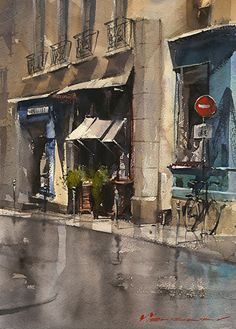 Vladislav Yeliseyev - Paris Tunes in little color- Watercolor - Painting entry - September 2015 Watercolor City, Watercolor Artists, Watercolor Landscape, Watercolour Painting, Landscape Art, Painting & Drawing, Watercolours, Watercolor Pencils, Watercolor Architecture