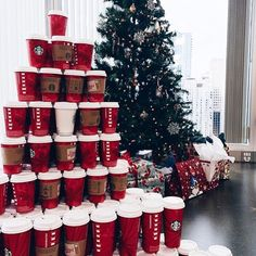 Pour out the holly, trim the tree with Christmas lights, and drink the red holiday Starbucks cups of hot cocoa!