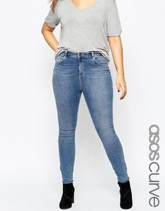 ASOS+CURVE+Lisbon+Mid+Rise+Skinny+Jean+in+Tamsin+Wash+with+Abrasion+on+Pockets