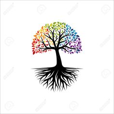 Illustration of Abstract vibrant tree logo design, root vector - Tree of life logo design inspiration isolated on white background vector art, clipart and stock vectors. Vector Trees, Vector Art, Tree Of Life Logo, Roots Logo, Light Up Canvas, Tree Logos, Home Logo, Logo Design Inspiration, Art Logo
