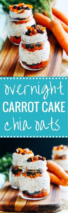 Overnight Carrot Cake Chia Oats- packed with fiber, protein and iron, these overnight oats taste just like carrot cake and will keep you full for hours! (vegan and gluten-free)
