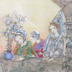 """One of our favourite acquisitions - Sulamith Wulfing Colour Tipped Print - 1932. """"Three Princesses in the tower"""" taken from a book of drawings by Sulamith Wulfing published in 1933.  www.copperjug.co.uk Princesses, Copper, Retro, Antiques, Drawings, Book, Painting, Vintage, Art"""