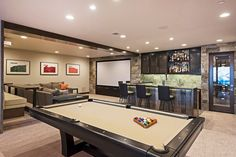 Transitional Game Room with Carpet, High ceiling