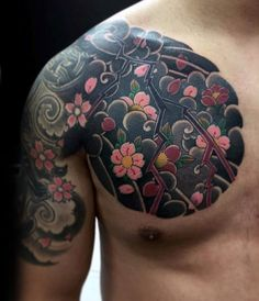 Flower Cherry Blossom Mens Japanese Chest And Arm Tattoos