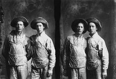 Men wearing work clothes in studio portrait, ca. 1900  ID Number: Collection I.264.15  Minnesota Historical Society