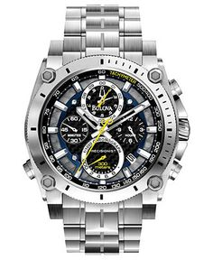 Bulova Watch, Men's Chronograph Precisionist Stainless Steel Bracelet 47mm 96B175 - Men's Watches - Jewelry & Watches - Macy's    $600