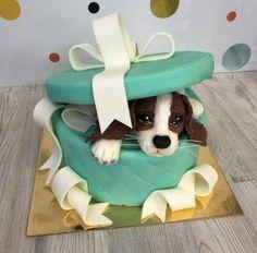 Puppy Birthday Cakes, New Birthday Cake, Fancy Cakes, Cute Cakes, Fondant Cakes, Cupcake Cakes, Cake For Boyfriend, Realistic Cakes, Christmas Cake Designs