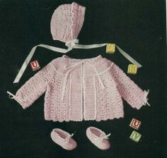 Crochet Layette Girl Free Pattern | Titled: Crochet For Gay, or Kay or Fay. It is crochet Shell Stitch ...