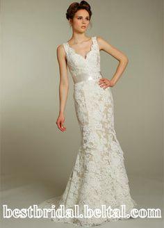 Spaghetti strap V-neck Lace A-Line Floor-length 2012 Alvina Valenta 9161 by JLM Wedding Dress