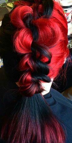 Red black dyed hair @hairbynikb