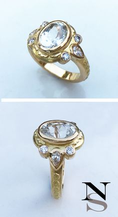 18K gold ring with a stunning white sapphire and diamonds. The untreated gem is made to make skin contact to enhance the beneficial effects of Venus in my clients Vedic astrology chart. Custom jewelry by Nala Saraswati