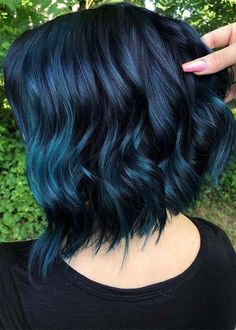 Hair Color Ideas Perfect Ideas Of Blue Hair Colors for Short Hair in Year 2019 Wedding Faq: Answers Peach Hair Colors, Hair Color Blue, Cool Hair Color, Purple Hair, Black Hair With Blue Highlights, Indigo Hair Color, Edgy Hair Colors, Blue Colors, Blue Tips Hair
