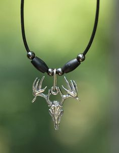 Drop Tine Deer Skull Head Pewter Pendant by LittleDDesignsTaylor, $29.95