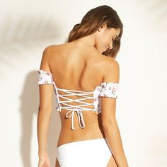 8816e5532e6 Women s Smocked Underwire Off the Shoulder Bikini Top - Xhilaration™ White  Floral