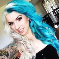 Two tone contrast half blue hair