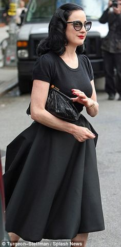 e4061939b63e Dita Von Teese is captured in all-black ensemble on Friday and Sunday