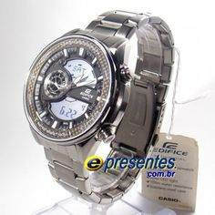 d1d2d853953 EFA-133D-8AV Relógio Masculino CASIO EDIFICE Analógico e Digital Cronografo  Aço