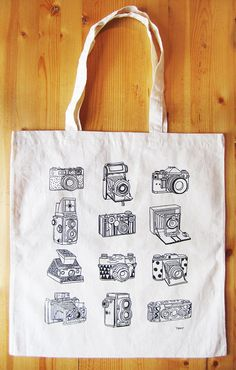 Cameras canvas tote bag. $10.00, via Etsy.