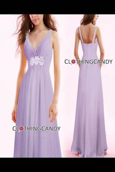 Lavendar V Neck Sexy Long Gown - Evening Dress - Prom Dress