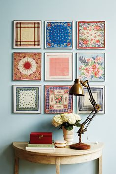 vintage handkerchiefs in frames.