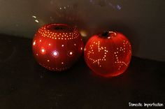 Reverse Pointilism Luminaria -- Pumpkins carved with a drill.