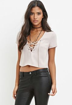 Lace-Up Crop Top | Forever 21 - 2000180296 but in black