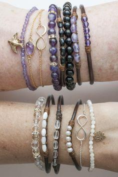 Leather bracelet with short length of wrapped beading . . . ღTrish W ~ http://www.pinterest.com/trishw/ . . . #handmade #jewelry