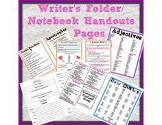 Writers folder/notebook handouts
