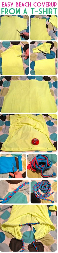 Easy Beach Coverup From a T-Shirt   Neon Rattail