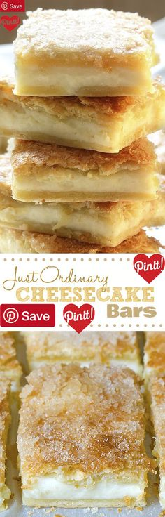 Just Ordinary Cheesecake Bars - Ingredients Vegetarian Baking & Spices 2 8oz. packages Crescent roll dough 11/16 cup Sugar 2 tsp Vanilla Dairy 2 tbsp Butter unsalted 16 oz Cream cheese #delicious #diy #Easy #food #love #recipe #recipes #tutorial #yummy @mabarto - Make sure to follow cause we post alot of food recipes and DIY we post Food and drinks gifts animals and pets and sometimes art and of course Diy and crafts films music garden hair and beauty and make up health and fitness and yes…