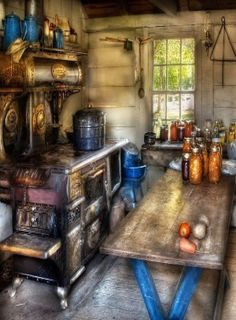 Stove & Table In Old Farm House