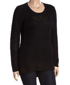Look what I found on #zulily! Black Crochet Pullover Sweater - Plus #zulilyfinds