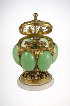 "France, green ""opaline"" glass perfume casket, gilt brass mounts, marble base, 1845, view 2 Wicca, Bottle Box, Beautiful Perfume, Antique Perfume Bottles, Murano, Opaline, Casket, Antique Glass, Witches"