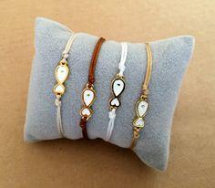 Gold Plated White Fish Charm Friendship Adjustable Bracelet - Beach Bracelet, Summer Bracelet, Macrame, Bead Bracelet by IzouBijoux on Etsy