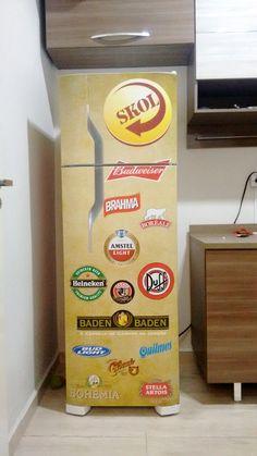 Envelopamento geladeira com cerveja Budwaiser Heineken Brahma Baden Baden Duff