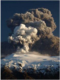 The plume of Eyjafjallajokull volcano, Iceland, April 17, 2010