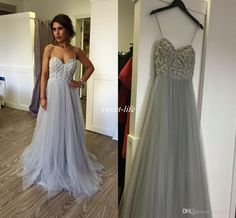 Cheap Long Prom Dresses for Teens Spaghetti Straps Crystals A-Line Floor Length Tulle Backless 2017 Sexy Occasion Gowns Party Evening Dress Prom Dresses Cheap Evening Gowns Online with 123.0/Piece on Sweet-life's Store   DHgate.com