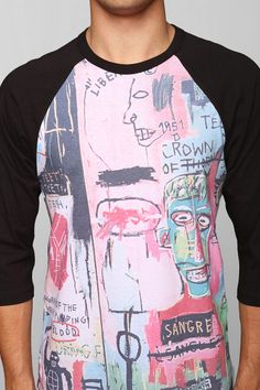Junk Food Italian Basquiat Raglan Tee Available at Urban Outfitters. www.junkfoodclothing.com #junkfoodtees #urbanoutfitters