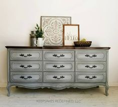 Refinished Vintage Dresser - There is nothing better than updating French Provincial pieces with a custom paint job! This 9 drawer long dresser is hand painted in… decor Vintage French Provincial Bedroom, French Provincial Furniture, Refurbished Furniture, Furniture Makeover, Painted Furniture, Dresser Makeovers, Upcycled Crafts, Long Dresser, French Dresser