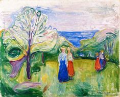The Athenaeum - Cherry Tree in Blossom and Young Girls in the Garden (Edvard Munch - )