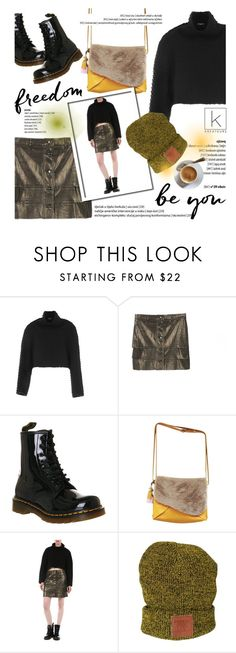 """Be you!"" by kreateurs ❤ liked on Polyvore featuring Dr. Martens, MINISKIRT, croppedsweater, blacksweater and kreateurs"