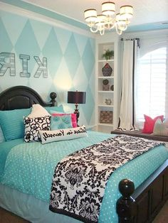 Turquoise Room Ideas - Turquoise it can be strong as well as solid, it's likewise soothing as well as relaxing.Here are of the very best turquoise room interior decoration ideas. Blue Teen Girl Bedroom, Teenage Girl Bedroom Designs, Teen Girl Rooms, Teenage Girl Bedrooms, Blue Bedroom Ideas For Girls, Blue Bedrooms, Tween Girls, Design Ideas, Teenage Room Decor