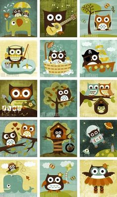 cute retro owl paintings